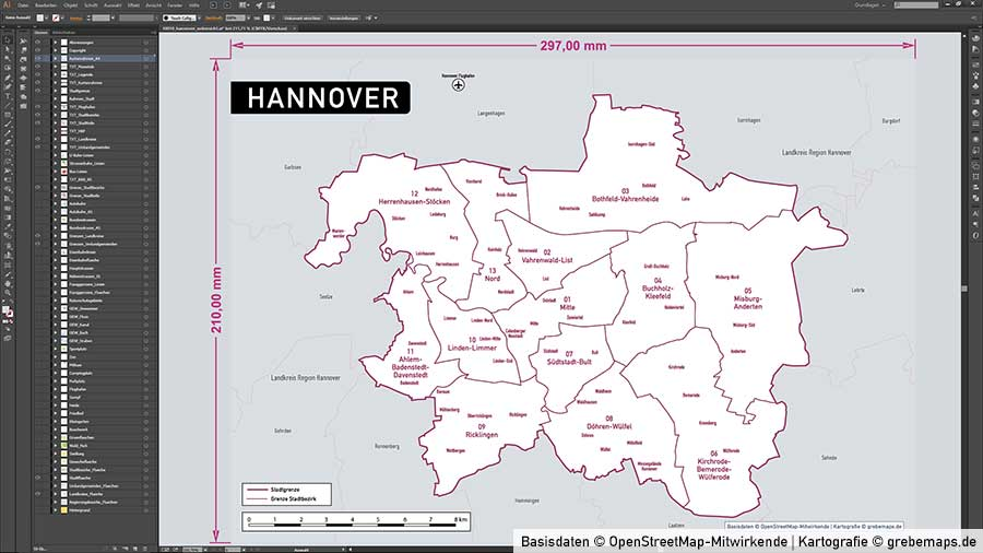 Vektor Karte Hannover
