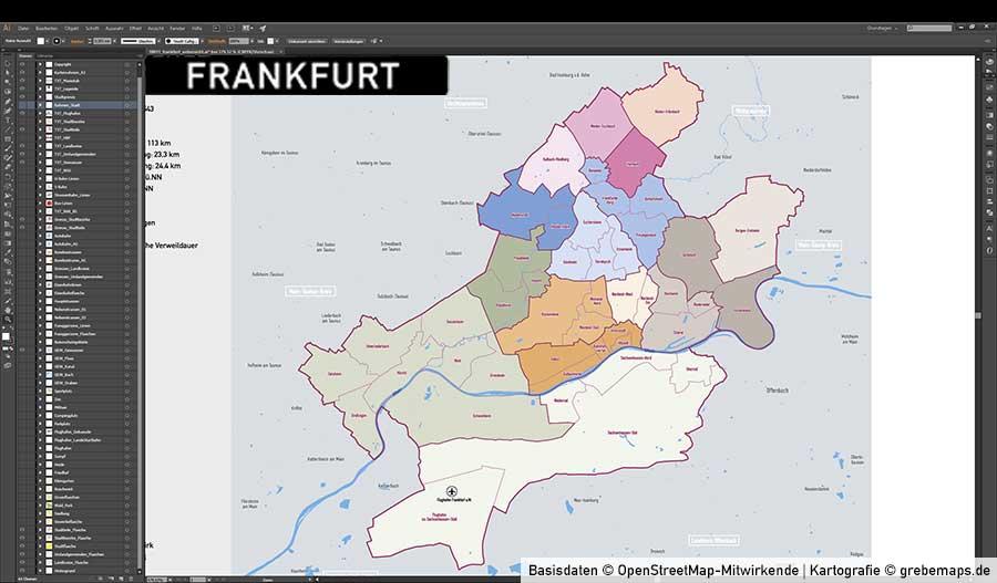 Vektor Karte Frankfurt
