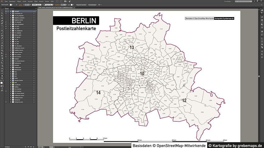 PLZ Karte Berlin, Postleitzahlenkarte Berlin, Berlin Postleitzahlen-Karte, PLZ-5 Karte Vektor Berlin, PLZ Karte Berlin für Illustrator, AI, editierbar, bearbeitbar, download