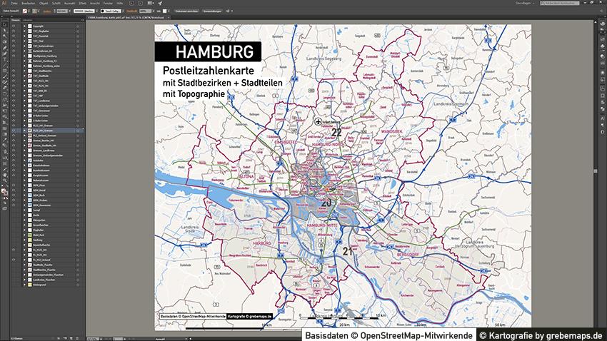 PLZ Karte Hamburg, Postleitzahlenkarte Hamburg, Hamburg Postleitzahlen-Karte, PLZ-5 Karte Vektor Hamburg, PLZ Karte Hamburg für Illustrator, AI, editierbar, bearbeitbar, download