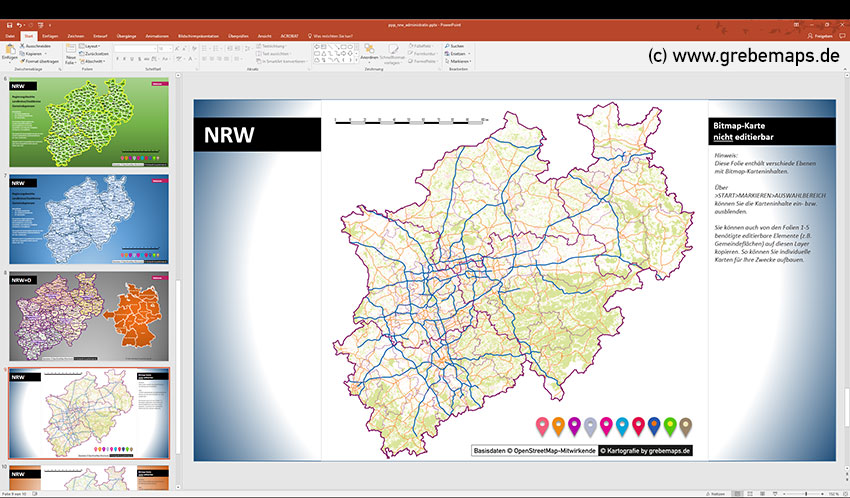 Karte NRW Vektor PowerPoint mit Gemeinden, Landkreisen, Stadtkreisen, Regierungsbezirken, NRW, Karte Nordrhein-Westfalen, PowerPoint