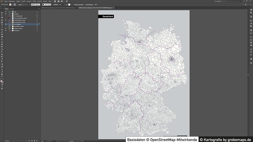 Karte Plz Deutschland, Postleitzahlenkarte Deutschland Vektor, Postleitzahlengebiete Deutschland, Karte Plz 5-stellig Deutschland Vektor für Illustrator