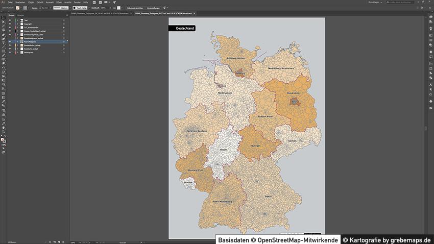 Karte Postleitzahlen Deutschland Plz-5 Vektor