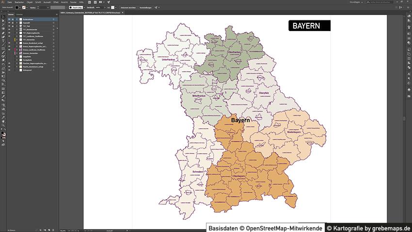 Landkarte Bayern Gemeinden und Landkreise / Stadtkreise, Karte Bayern Landkreise, Karte Bayern Gemeinden, Vektorkarte Bayern Gemeinden, Karte Vektor Bayern für Illustrator, Gemeindenkarte, Landkreiskarte Bayern