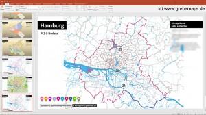 PowerPoint Hamburg PLZ, Posteitzahlen Hamburg Karte PowerPoint