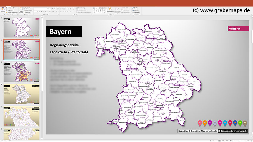 PowerPoint-Karte Bayern Landkreise und Gemeinden, Karte Landkreise und Stadtkreise Bayern, Karte Gemeinden Bayern
