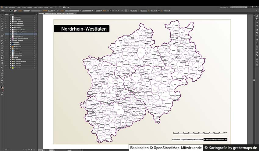 Gemeindekarte NRW Vektor