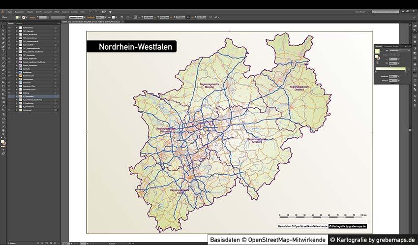 Karte NRW Vektor, Vektor-Karte Nordrhein-Westfalen, Vektor, Illustrator, AI, editierbar, NRW, Nordrhein-Westfalen, Landkreise, Stadtkreise, Gemeinden, Regierungsbezirke, vector map nrw