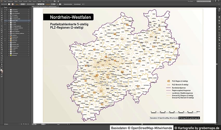 Postleitzahlenkarte NRW 5-stellig