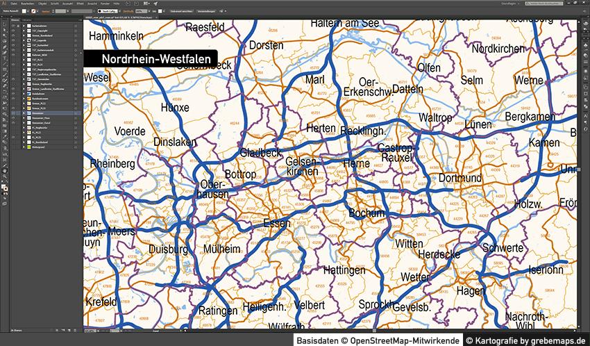 Postleitzahlenkarte NRW Vektor Illustrator AI, PLZ-Karte NRW Vektor, Vektorkarte NRW PLZ, PLZ-5, PLZ-2, Postleitzahlen NRW Karte Vektor, editierbar, bearbeitbar, download, PLZ NRW Karte, Vektorgrafik, vector map nrw plz