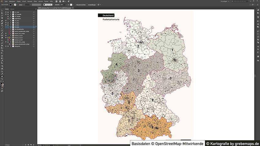 PLZ-Karte Deutschland 5-stellig, Postleitzahlenkarte Deutschland PLZ-5, PLZ-3 Karte, PLZ-2 Karte, PLZ-1 Karte, PLZ-1-2-3-5 Karte, Karte für Illustrator, Vektorkarte