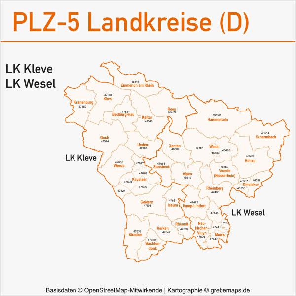 Postleitzahlen-Karten PLZ-5 Vektor Landkreise Deutschland, PLZ-Karte Vektor Landkreise Deutschland, Postleitzahlen-Karte zu einzelnen Landkreisen in Deutschland