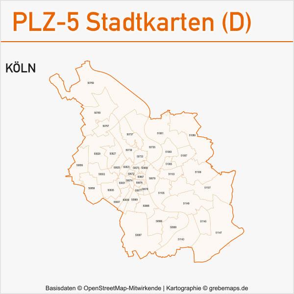 Postleitzahlen-Karten PLZ-5 Vektor Stadtkarten Deutschland, PLZ-Karte 5-stellig, PLZ-5-Karte Vektor Stadt Deutschland, Karte Postleitzahlen 5-stellig