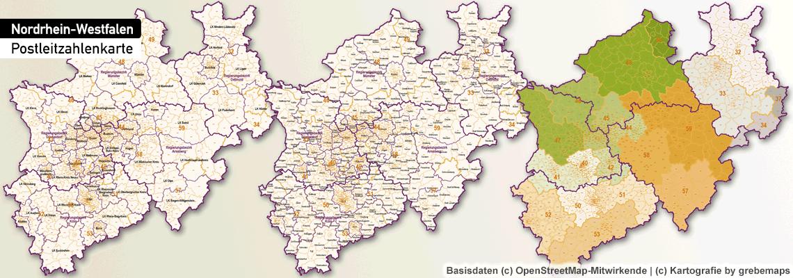 Postleitzahlen-Karte Nordrhein-Westfalen, PLZ-Karte NRW, Karte NRW PLZ (5-stellig), PLZ Karte NRW, Postleitzahlenkarte, PLZ5, PLZ-5, PLZ-5 Karte NRW, Bundesland NRW Postleitzahlen, Illustrator, AI, Vektor, Vector map, Vektorkarte, editierbar, skalierbar, bearbeitbar, download, kaufen