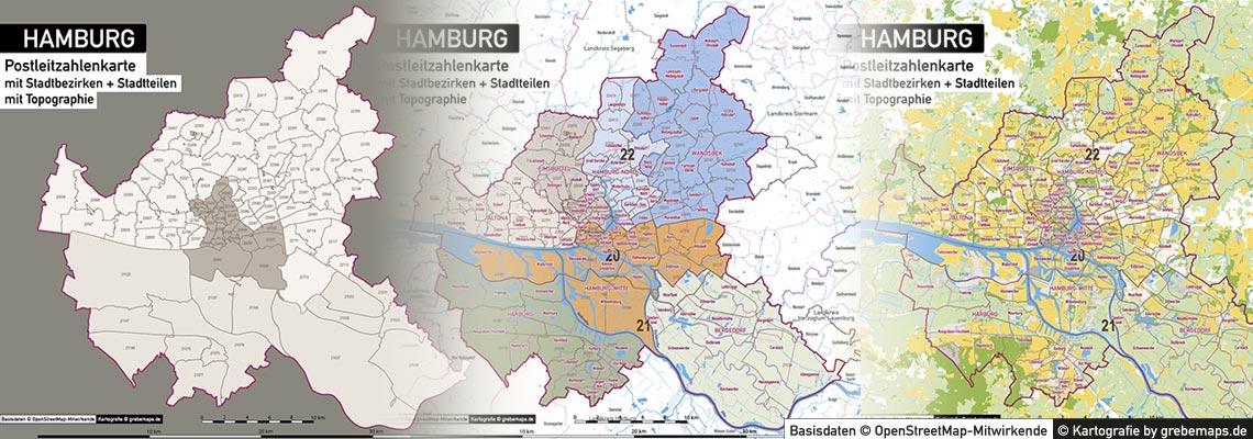 Postleitzahlenkarte Hamburg, PLZ Karte Hamburg Vektor, Karte Hamburg PLZ, Postleitzahl, Hamburg, Karte, Vektor, Illustrator, Download