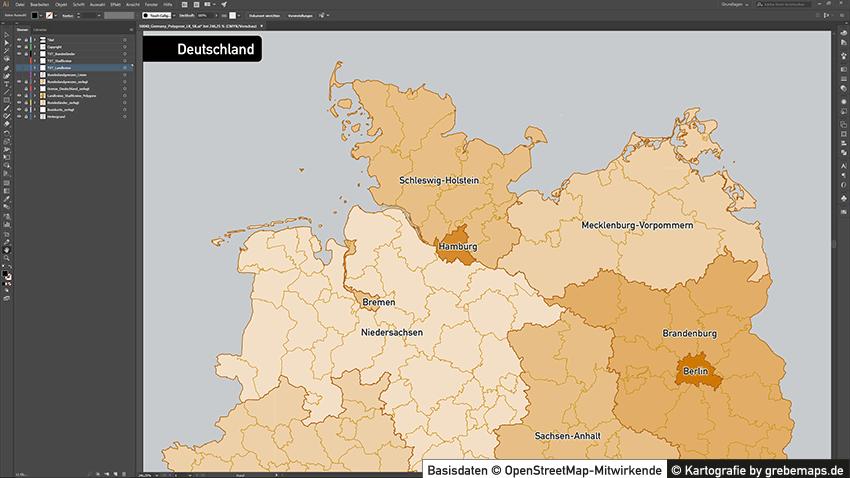 Administrative Karte Deutschland Landkreise, Karte Deutschland Landkreise, Landkarte Landkreise, Karte Landkreise Deutschland, Vektorkarte Landkreise Deutschland für Illustrator