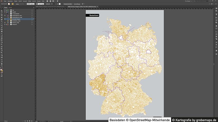 Vektor-Karte Gemeinden Deutschland