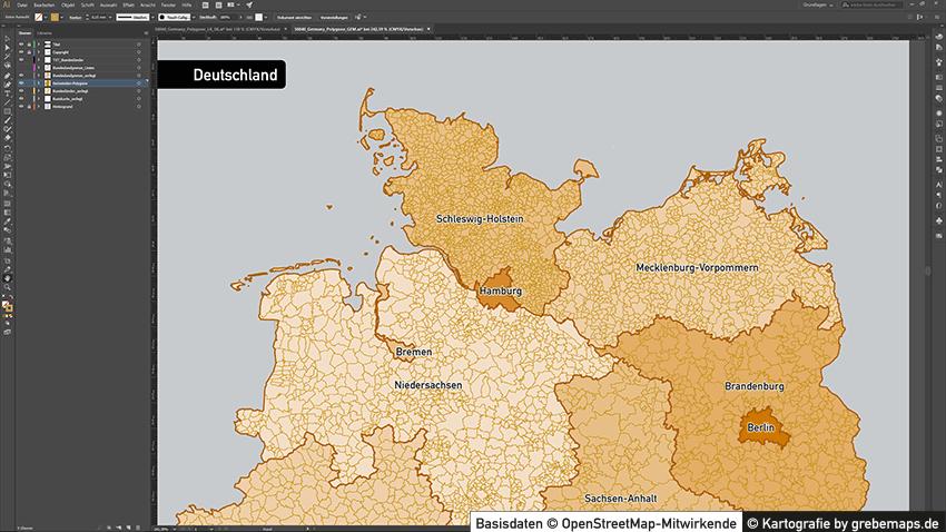 Administrative Karte Deutschland Gemeinden, Gemeindekarte Deutschland, Karte Deutschland Gemeinden, Landkarte Gemeinden Deutschalnd, Karte Gemeinden Deutschland, Vektorkarte Gemeinden Deutschland für Illustrator