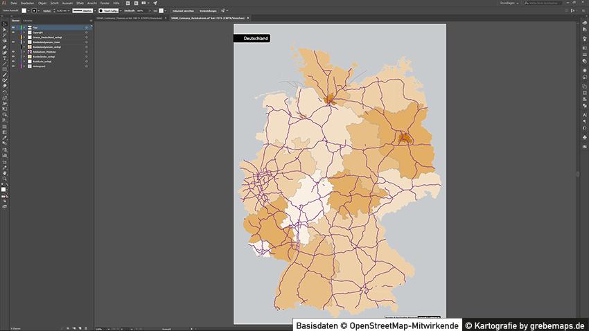 Karte Deutschland Autobahnen mit Bundesländern
