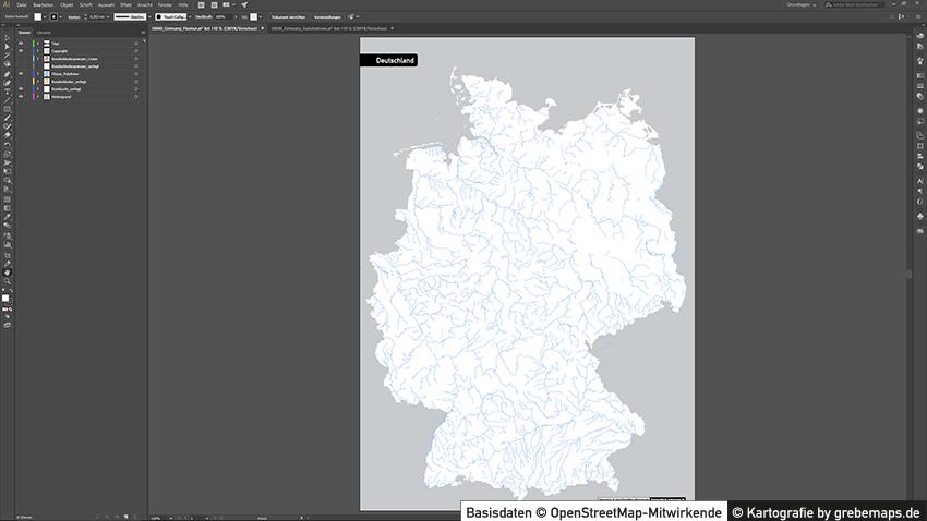 Karte Flüsse Deutschland mit Bundesländern