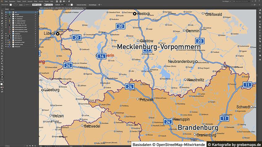 Karte Deutschland Autobahnen Städte Gewässer Bundesländer, Karte Vektor Deutschland Flüssen, Vektorkarte Deutschland Bundesländer, Karte Vektor Deutschland Städte