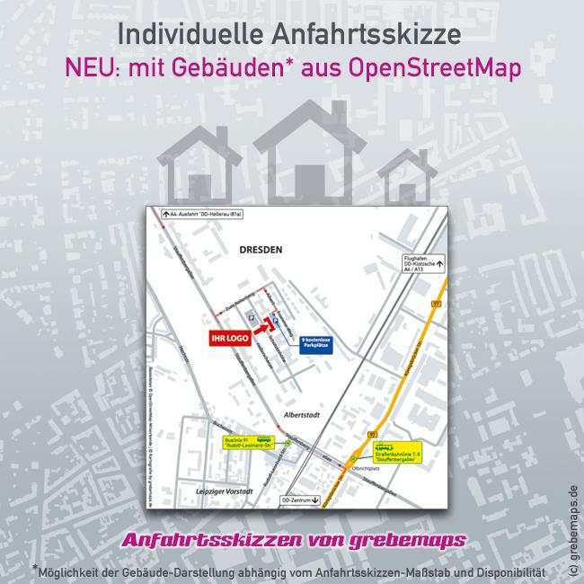 individuelle Anfahrtsskizze mit Gebäuden aus OpenStreetMap, Lageplan erstellen, Wegbeschreibung erstellen, Anfahrtsplan erstellen