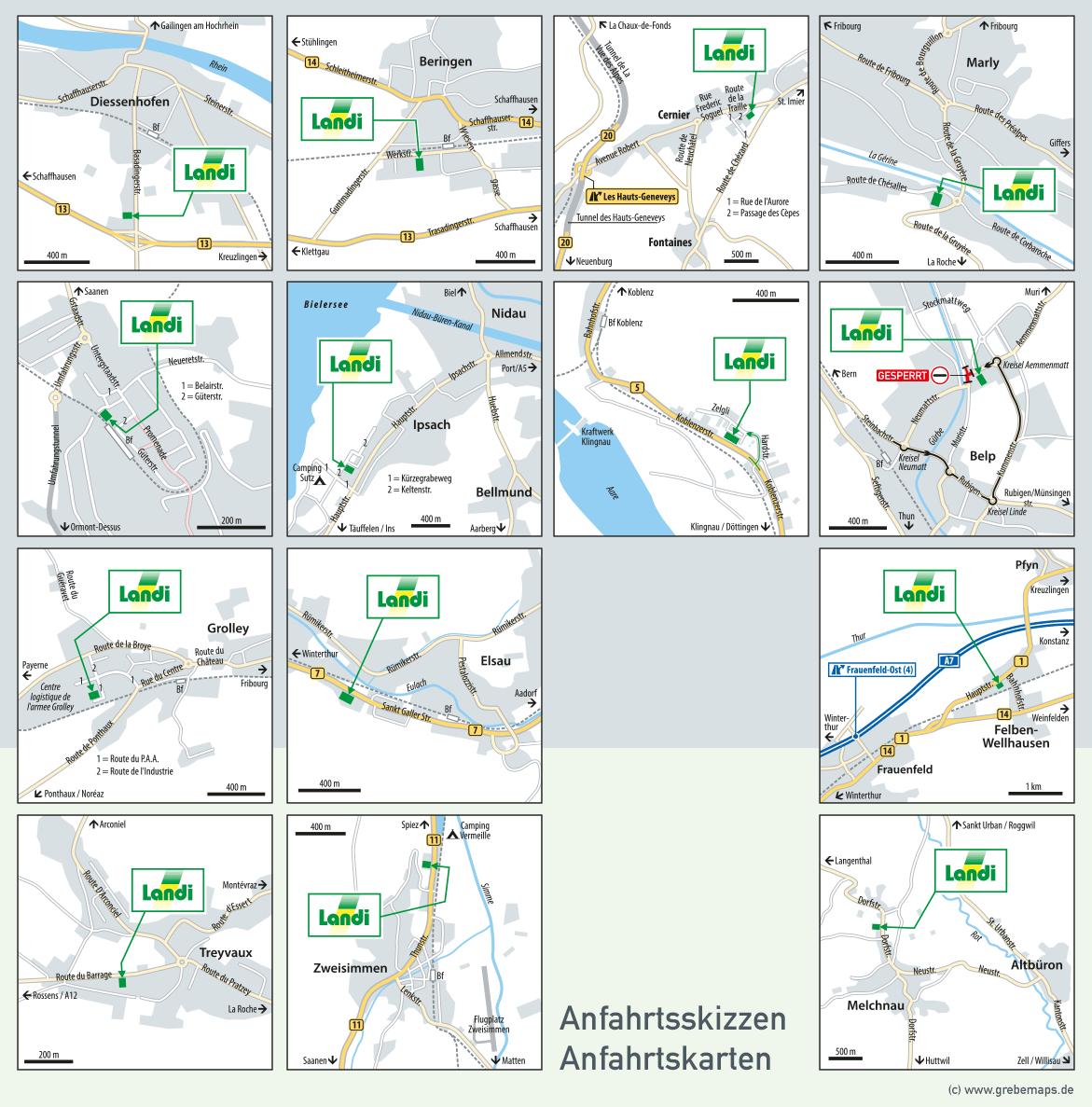 Anfahrtsskizzen für Landi (Schweiz)