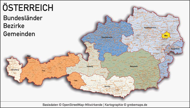 Länderkarten - Karte Europa, Karte Österreich Bundesländer Bezirke Gemeiden, Vektorkarte Österreich, Karte Gemeinden Österreich, Karte Austria Vektor, Landkarte Österreich Bezirke, Landkarte Austria Bezirke, Basiskarte Österreich Bundesländer