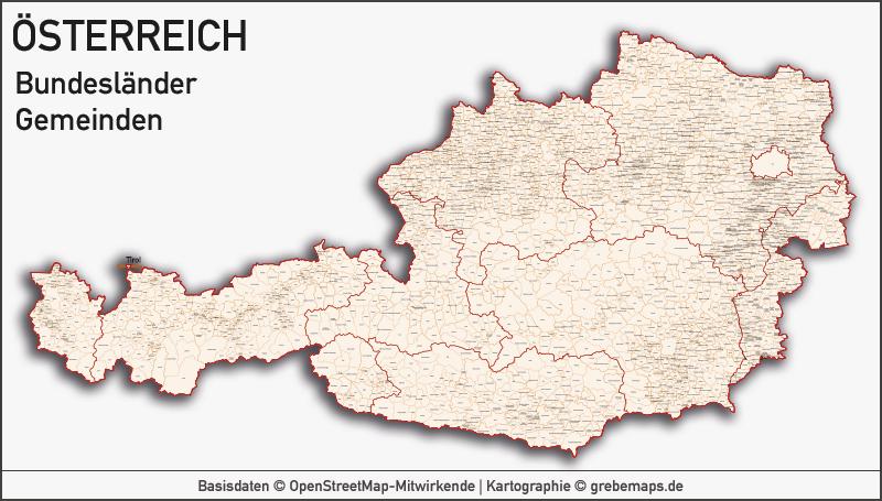 Länderkarten - Europakarte, Karte Österreich Bundesländer Bezirke Gemeiden, Vektorkarte Österreich, Karte Gemeinden Österreich, Karte Austria Vektor, Landkarte Österreich Bezirke, Landkarte Austria Bezirke, Basiskarte Österreich Bundesländer