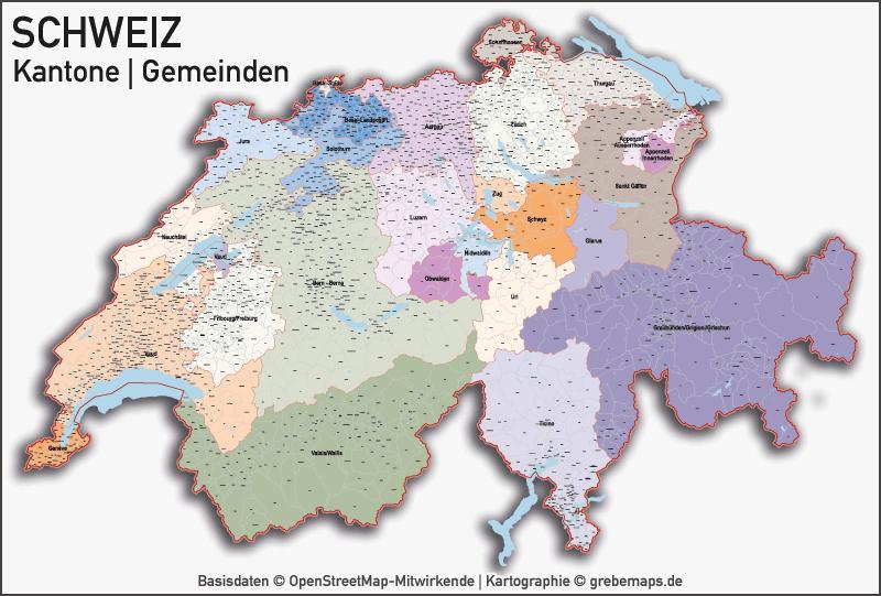 Länderkarten - Karte Europa, Karte Schweiz Kantone Gemeinden Seen, Vektorkarte Schweiz Kantone Gemeinden, Karte Vektor Schweiz Kantone Gemeinden