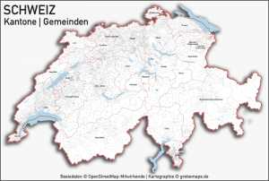 Länderkarten - Europakarten, Karte Schweiz Kantone Gemeinden Seen, Vektorkarte Schweiz Kantone Gemeinden, Karte Vektor Schweiz Kantone Gemeinden