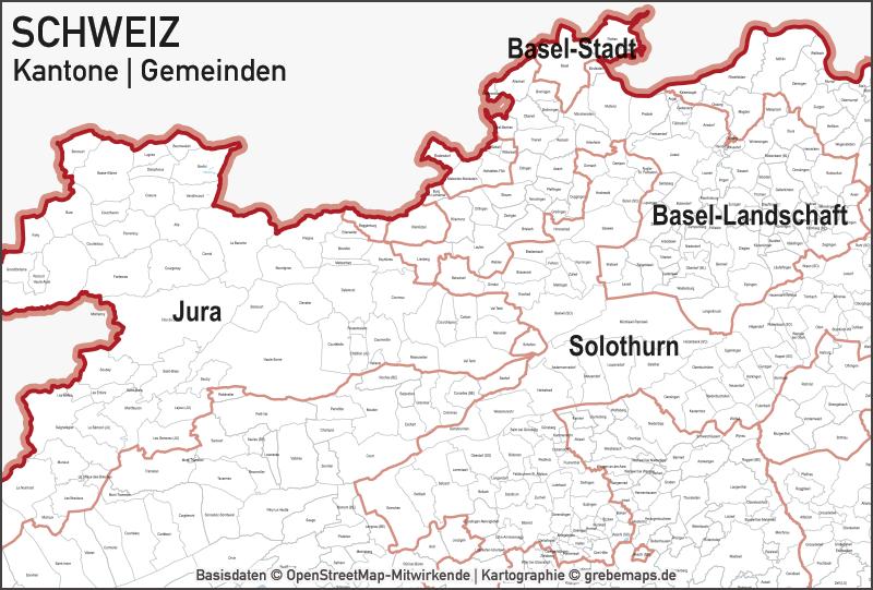 Schweiz Vektorkarte Kantone Gemeinden, Karte für Illustrator, Vektor, Illustrator, AI, Datei, Kartengrafik, Vektorgrafik, Grenzlinienkarte Schweiz