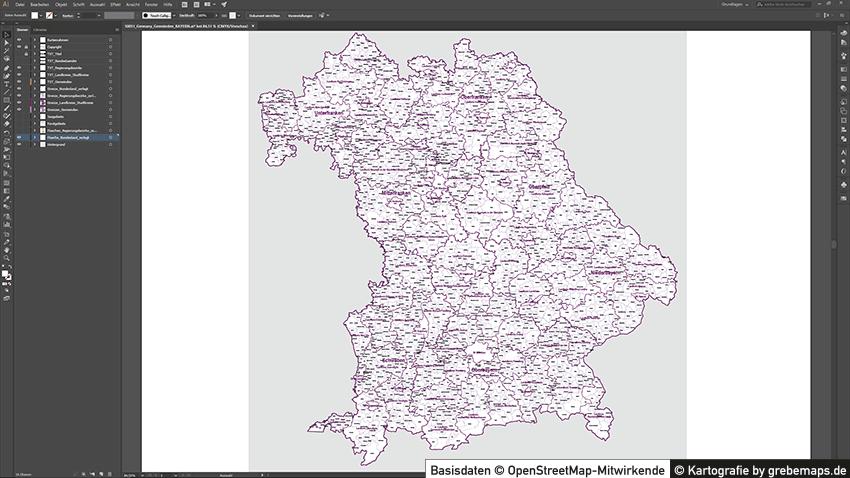 Bayern Vektorkarte Gemeinden Landkreise Regierungsbezirke, Karte Gemeinden und Landkreise Bayern Vektor, Landkarte Bayern Landkreise, Landkarte Bayern Gemeinden, Landkreise Bayern Karte