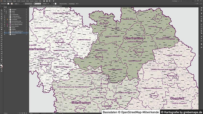 Plz Karte Bayern.Bayern Vektorkarte Gemeinden Landkreise Regierungsbezirke