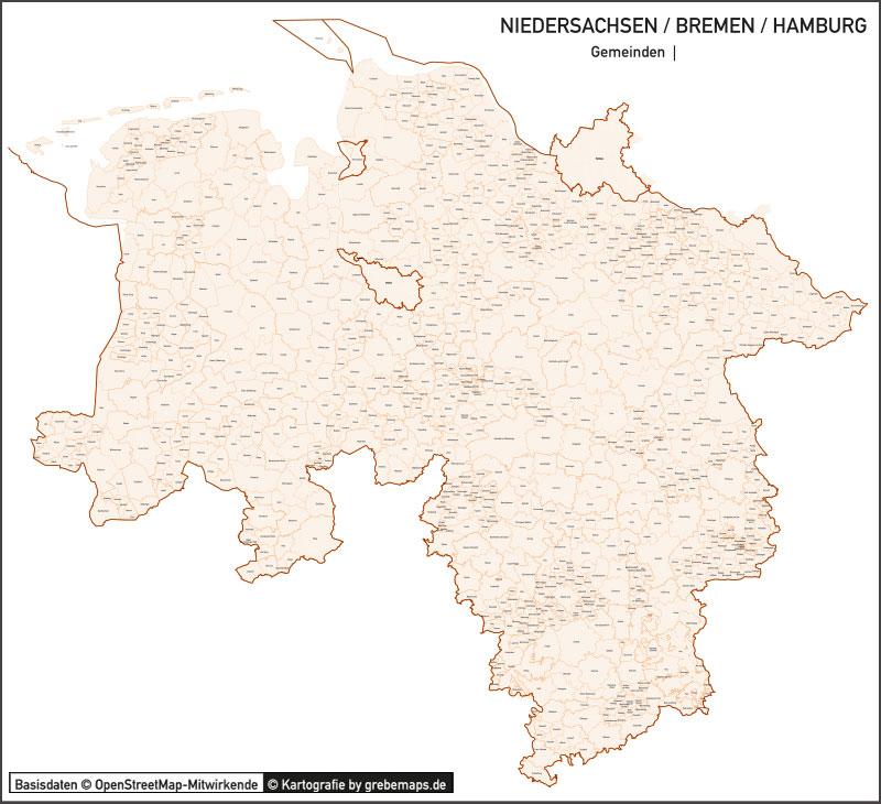 Niedersachsen / Bremen / Hamburg Vektorkarte Landkreise Gemeinden PLZ-5, PLZ-Karte Niedersachsen, Karte Gemeinden Niedersachsen, Karte Landkreise Niedersachsen, Vektorkarte Niedersachsen