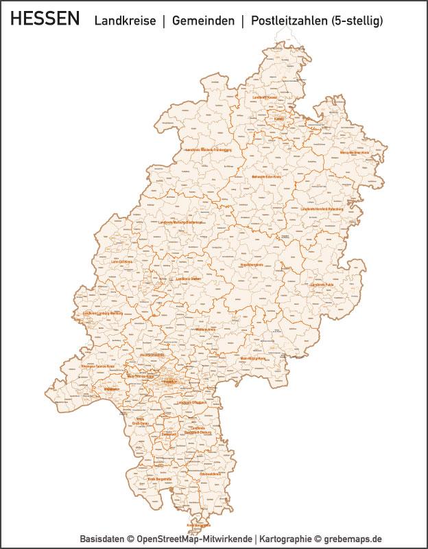 Hessen Vektorkarte Landkreise Gemeinden Plz 5 Grebemaps