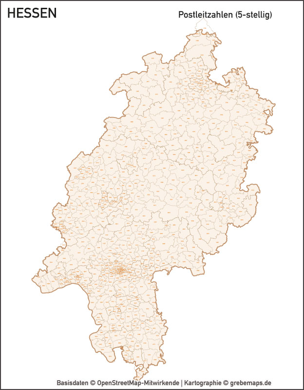 Hessen Vektorkarte Landkreise Gemeinden PLZ-5, Karte Gemeinden Hessen, Karte Landkreise Hessen, Postleitzahlenkarte Hessen, Karte Hessen PLZ, Vektorkarte Hessen