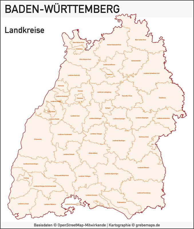 Baden-Württemberg Vektorkarte Landkreise Gemeinden PLZ-5, Karte Baden-Württemberg, PLZ-Karte Baden-Württemberg, Karte Gemeinden Baden-Württemberg, Karte Landkreise Baden-Württemberg, Landkarte Baden-Württemberg, Karte Vektor Baden-Württemberg