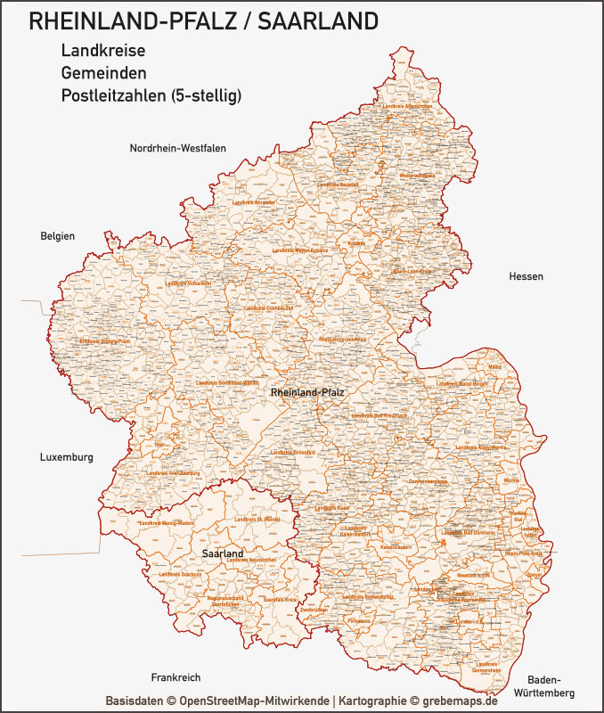 Rheinland-Pfalz Saarland Vektorkarte Landkreise Gemeinden PLZ-5, Karte PLZ, Vektorkarte Rheinland-Pfalz, Karte Vektor, AI