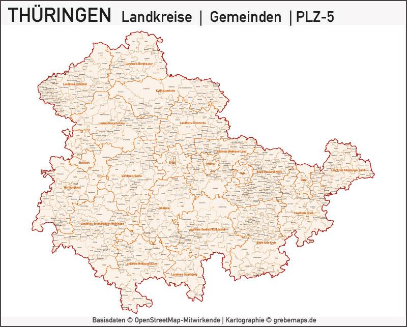 Karte Thüringen Vektor Gemeinden Landkreise Postleitzahlen, Thüringen Vektorkarte Landkreise Gemeinden PLZ-5