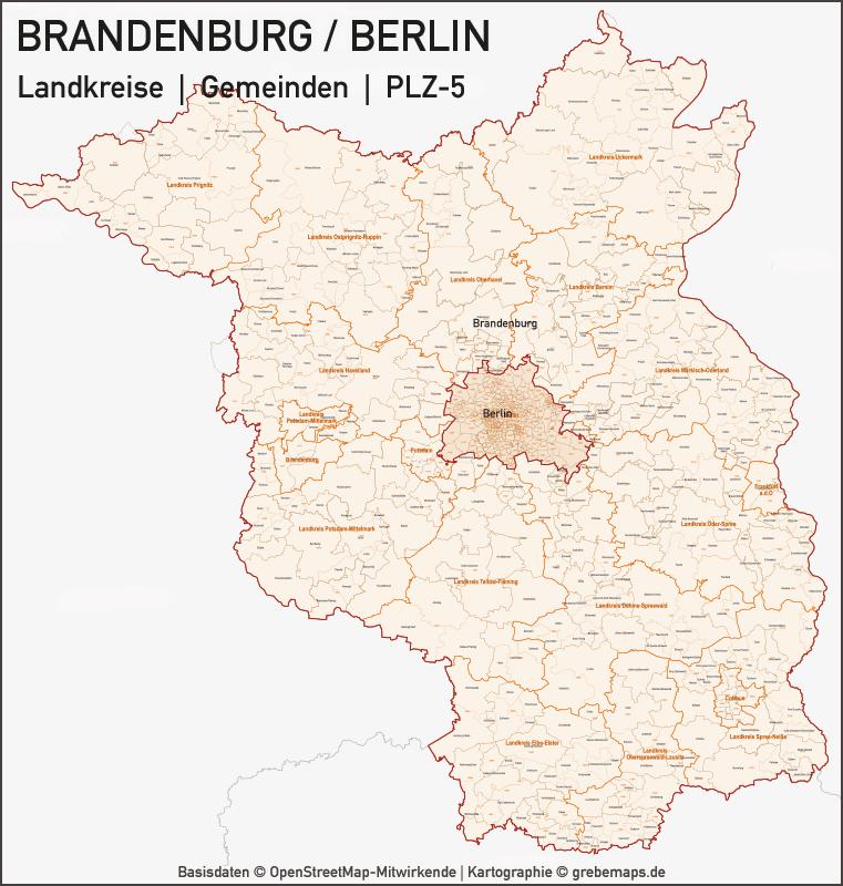 Brandenburg Berlin Vektorkarte Landkreise Gemeinden PLZ-5, Karte Landkreise, Karte Gemeinden, Karte Postleitzahlen 5-stellig, Karte Vektor, Illustrator, AI