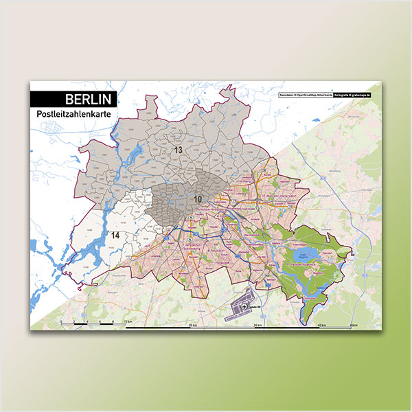Karte Berlin Stadtplan Postleitzahlen PLZ-5 Topographie Stadtbezirke Stadtteile Vektorkarte