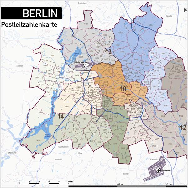 Karte Berlin Stadtplan Postleitzahlen Plz 5 Stadtteile