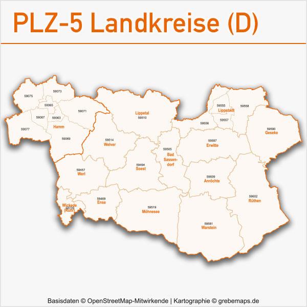 Postleitzahlen-Karten PLZ-5 Vektor Landkreise Deutschland