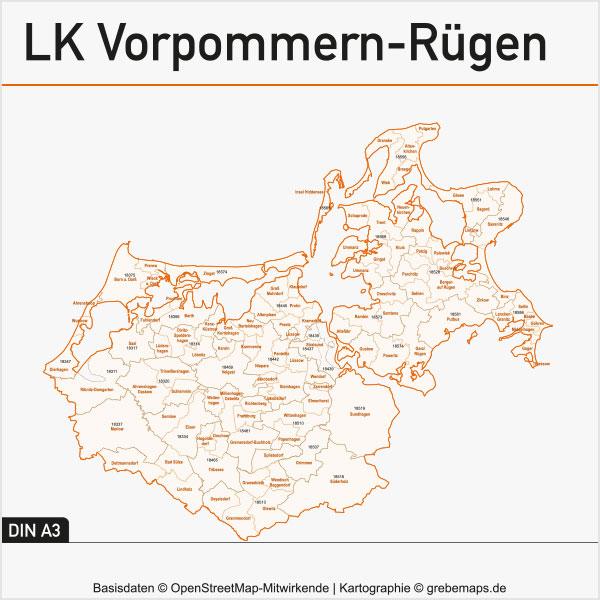 Karte Landkreise Vorpommern-Rügen Gemeinden Postleitzahlen