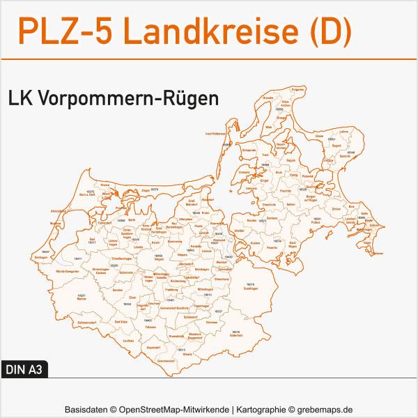 Karte Landkreise Vorpommern-Rügen Gemeinden Postleitzahlen, Vektorkarte Vorpommern-Rügen, Landkreiskarte, Gemeindekarte, Postleitzahlenkarte Vorpommern-Rügen, Karte Vorpommern-Rügen