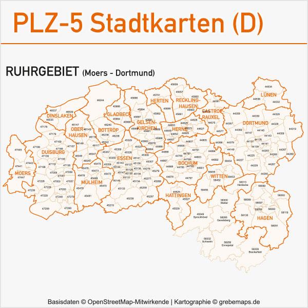Karte Ruhrgebiet Städte.Karte Ruhrgebiet Postleitzahlen Gemeinden