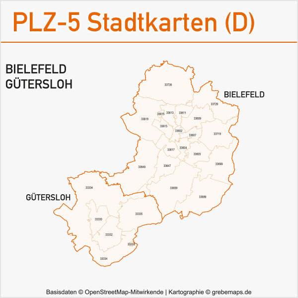 Postleitzahlen-Karten PLZ-5 Vektor Stadtkarten Deutschland, Vektorkarten, AI, editierbar, bearbeitbar, Karte Postleitzahlen, PLZ-Karten Vektor Deutschland Städte