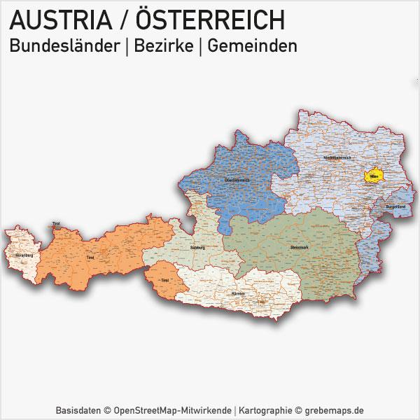 Austria Österreich Vektorkarte Bundesländer Bezirke Gemeinden