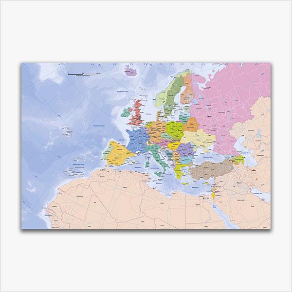 Karte Europa, Europakarte Vektor, Vektorkarte Europa, flächentreue Europakarte, Karte Europa mit Provinzen